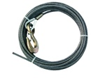 "3/8"" diameter steel core winch cable with standard alloy hook.  Used for most 19' to 21' carriers with 8,000lb winches, OEM Jerr Dan equipment.  Available in lengths of - 50', 75', 100', 150', and 200'.  Towing, parts, accessories, equipment, recovery,"