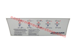 Jerr Dan Standard Duty Carrier Control Decal for 5 Controls.  Part# 7330000648.  OEM Jerr Dan Replacement parts.  For Jerr Dan Rollbacks and car Carriers