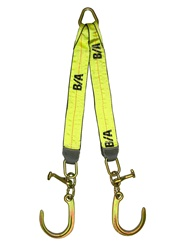 V-Strap with Short J-hook and T-Hook v strap vstrap short j hooks grade 70 ba products b/a products strap tie down tye down tie down setups jerr dan jerrdan jerr-dan awdirect aw direct aw-direct towing parts towing equipement towing supplies toe tow wreck