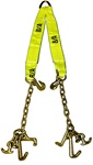Adjustable V-strap with chain and hook clusters.  V, vstrap, hooks, grade 70 ba products b/a products strap, wrecker, carrier, tie down setups jerr dan jerrdan jerr-dan awdirect aw direct aw-direct towing parts towing equipement towing supplies toe tow