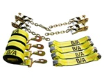 8 Point Tie Down System for trailers and flatbeds that have center D-rings.  Tie down system loops through tires, secures vehicles and cargo with no damage.  Rollback, carrier, flatbed, wrecker, trailer, t slots, d rings, ratchets, straps, chains, kit