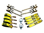 8 Point Tie Down System for trailers and flatbeds with center D-rings.  Drings included.  Tie down system loops through tires, secures vehicles and cargo with no damage.  Rollback, carrier, flatbed, wrecker, trailer, t slots, d rings, ratchets, straps,