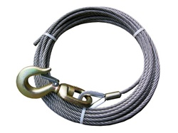 "3/8"" diameter fiber core winch cable with standard alloy hook.  Used for most 19' to 21' carriers with 8,000lb winches, OEM Jerr Dan equipment.  Available in lengths of - 50', 75', 100', 150', and 200'.  Towing, parts, accessories, equipment, recovery,"